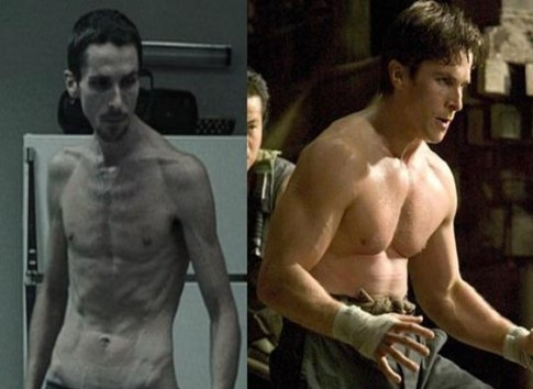Plasticity: actor Christian Bale at two points in time. Same genes, different phenotypes.