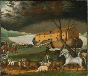 """Noahs Ark"" by Edward Hicks - http://www.cs.berkeley.edu/~aaronson/zoo.html. Licensed under Public domain via Wikimedia Commons"